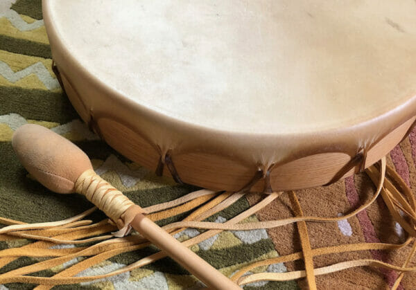 Mara BIshop deerskin drum made from found deer