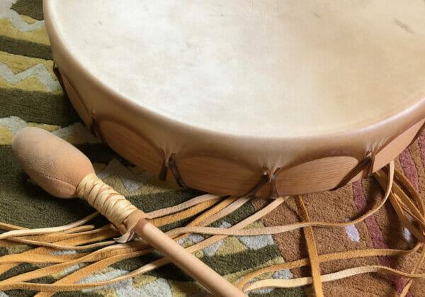 Mara BIshop deerskin drum made from found deer